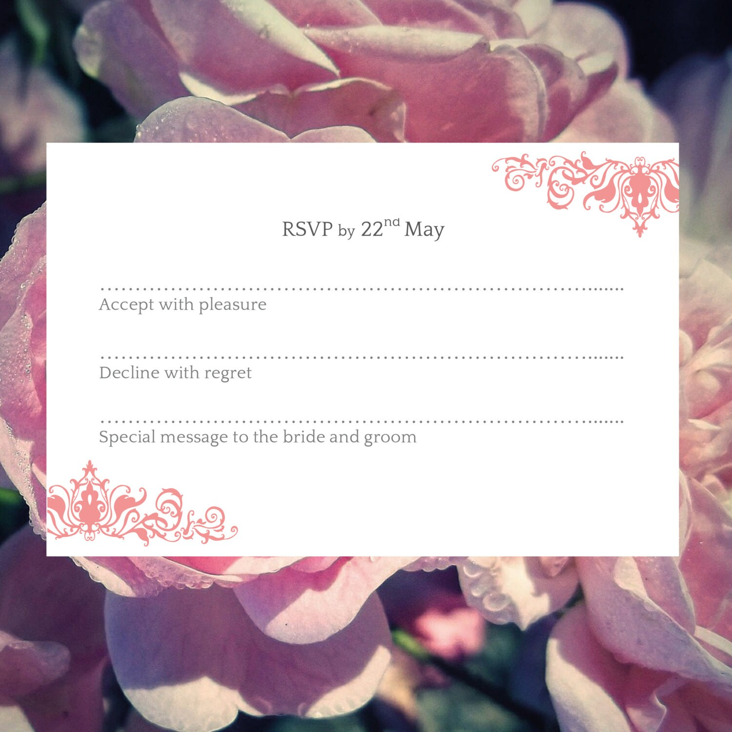Wedding RSVP template (Ornate) Pink  Download PRINTABLE Microsoft word template DIY wedding rsvp floral printable rsvp elegant rsvp