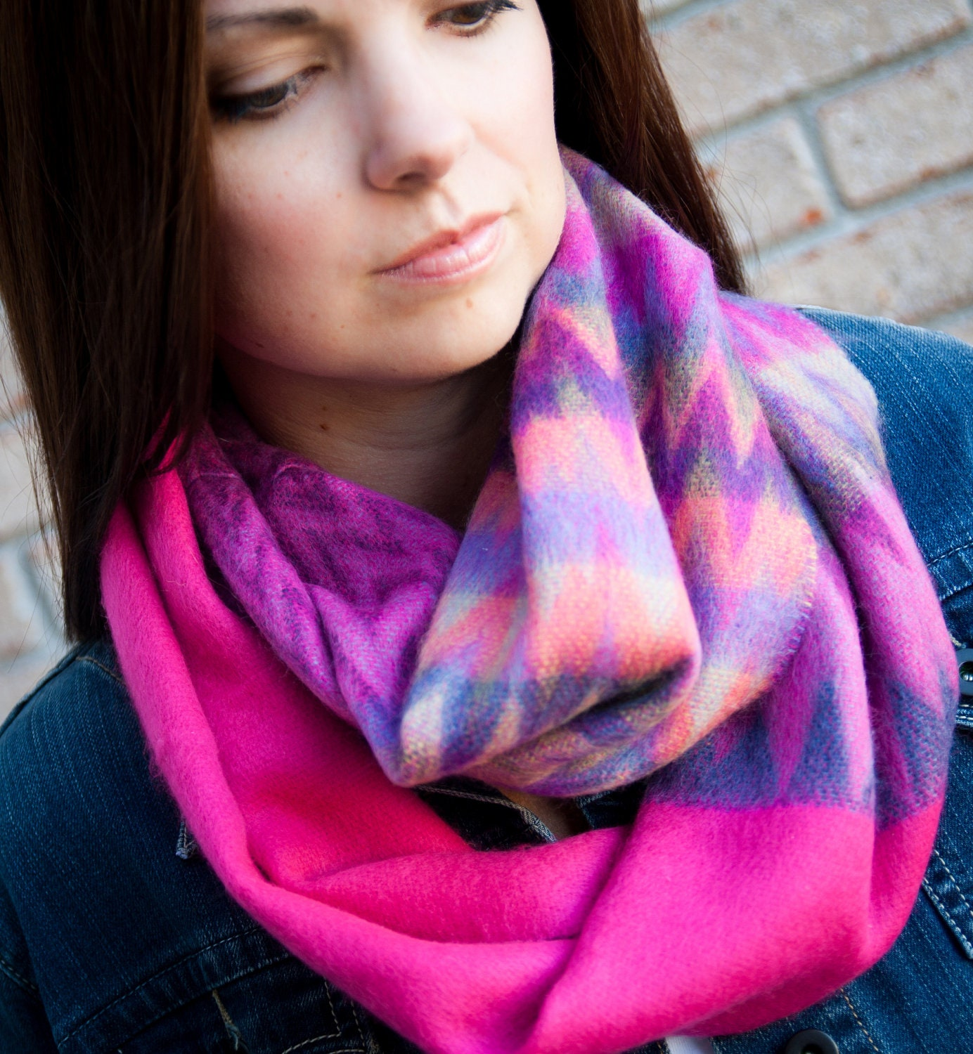 Infinity Scarf - Cozy Warm Infinity Scarf, Color Block Scarf, Chunky Circle Scarf in Hot Pink, Black or Orange