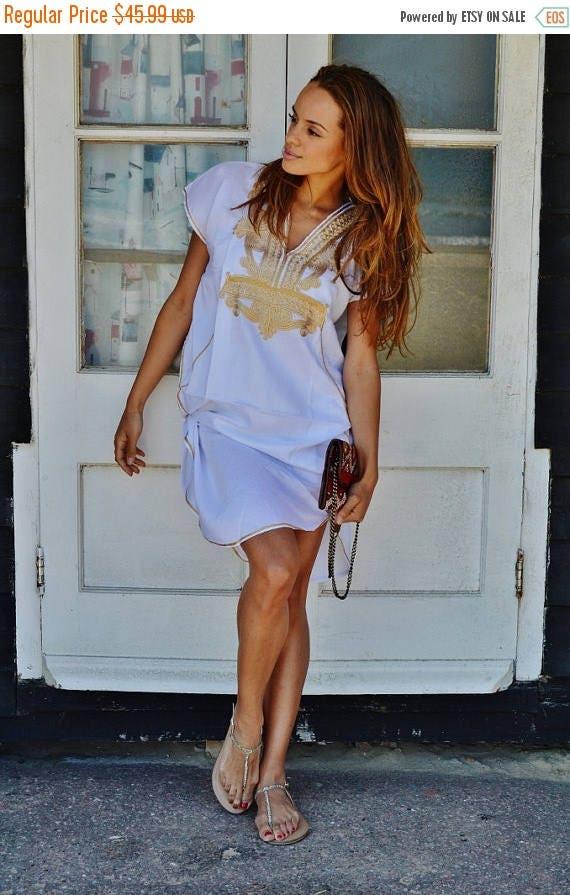 10 OFF Summer SALE  White with Gold Marrakech Resort Short Tunic Caftan Kaftan  for beach cover ups resortwearloungewear birthdays h