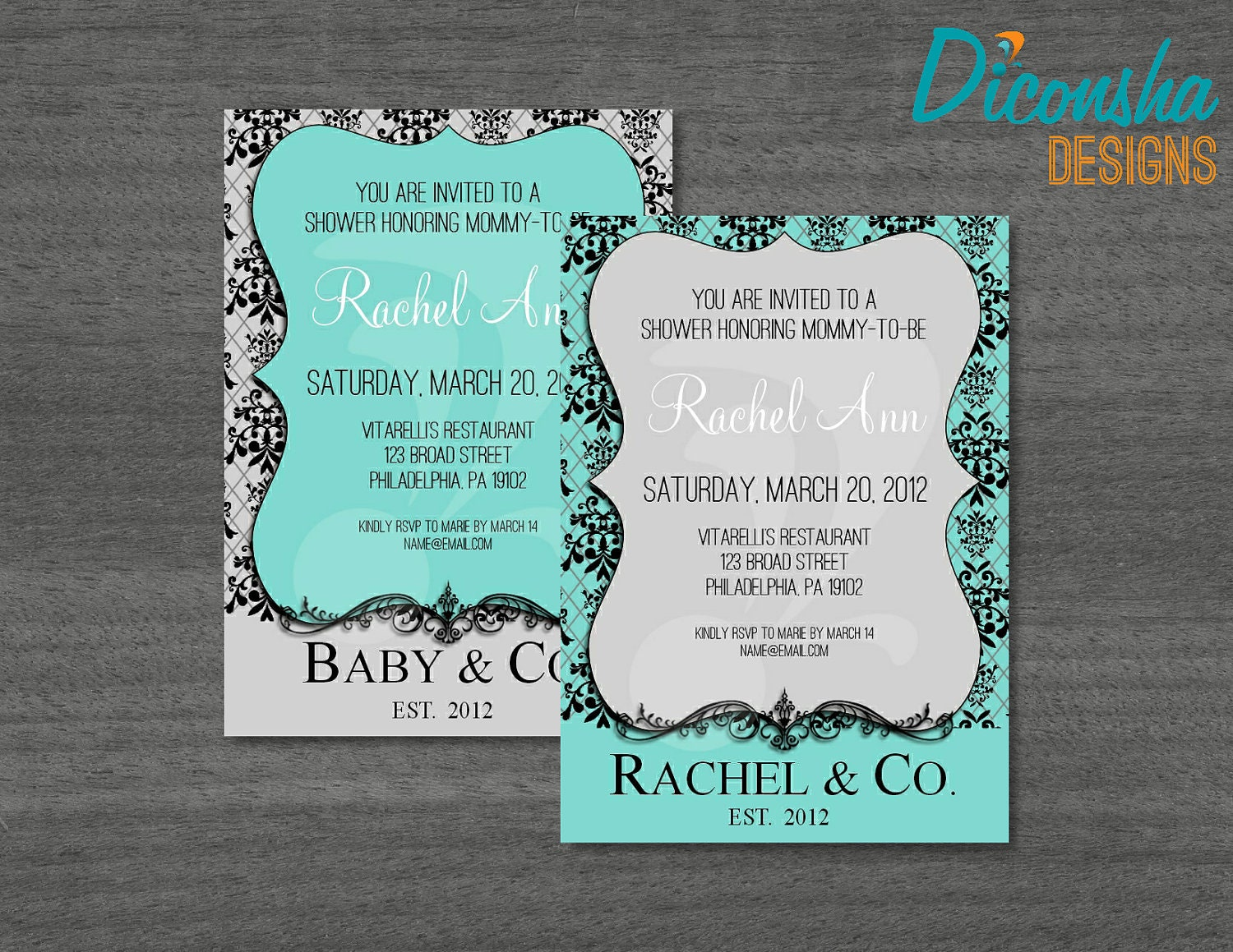 tiffany blue invitations baby or bridal shower printable and