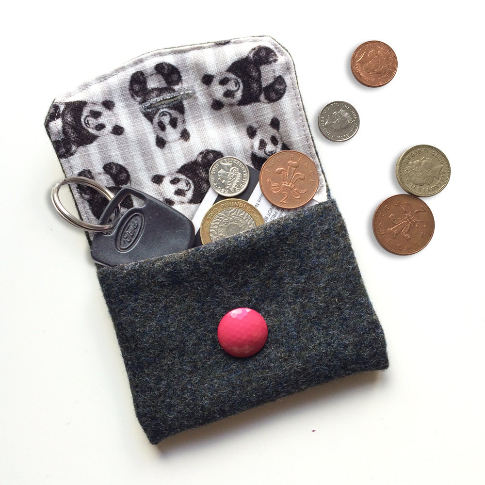 Panda card wallet wool felt purse cute panda bear illustration fabric unique coin pouch for animal lover birthday gift for her