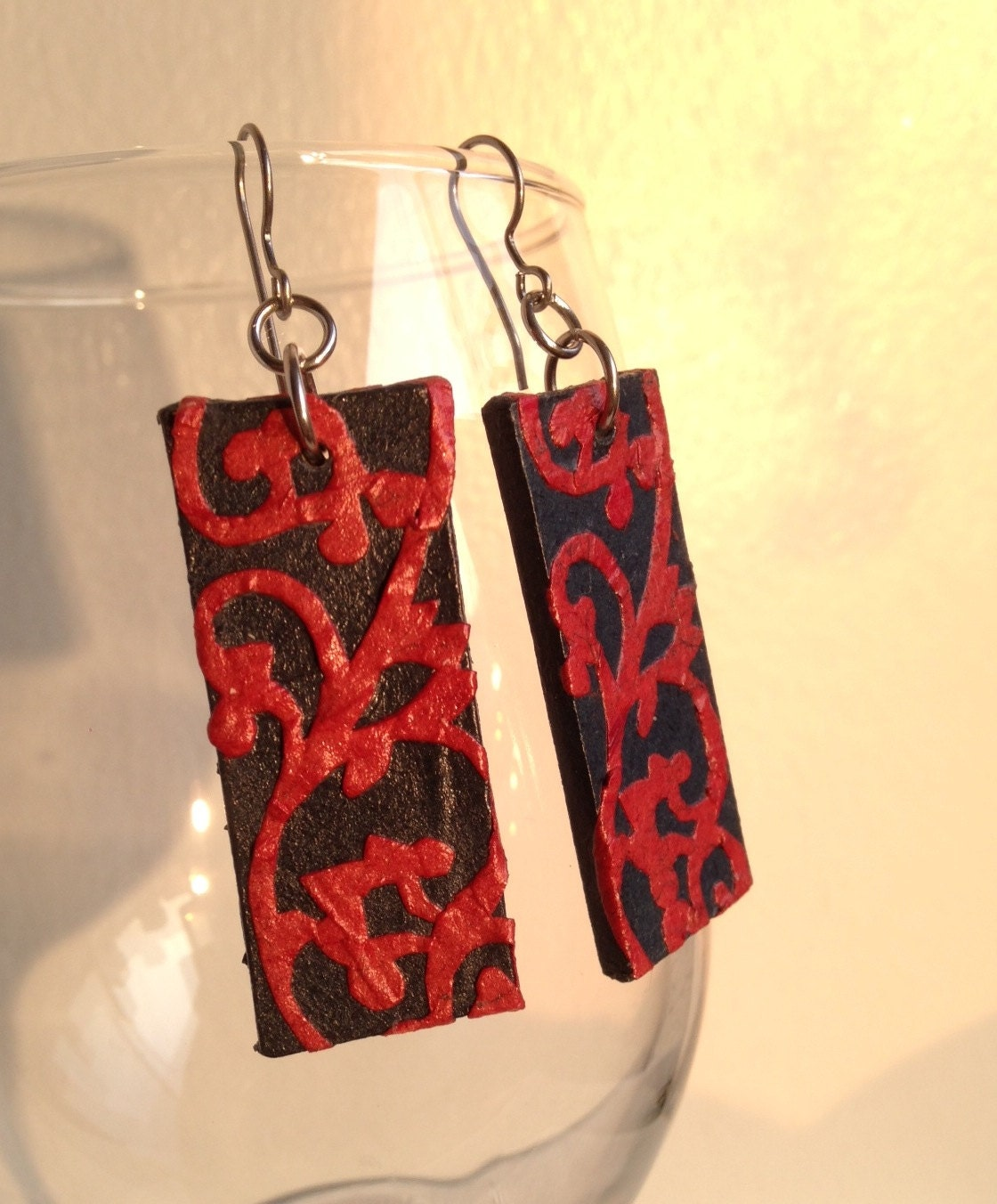 Navy & Red Handmade Hanji Paper Dangle Earrings Swirl Design Hypoallergenic hooks Lightweight Ear rings - HanjiNaty