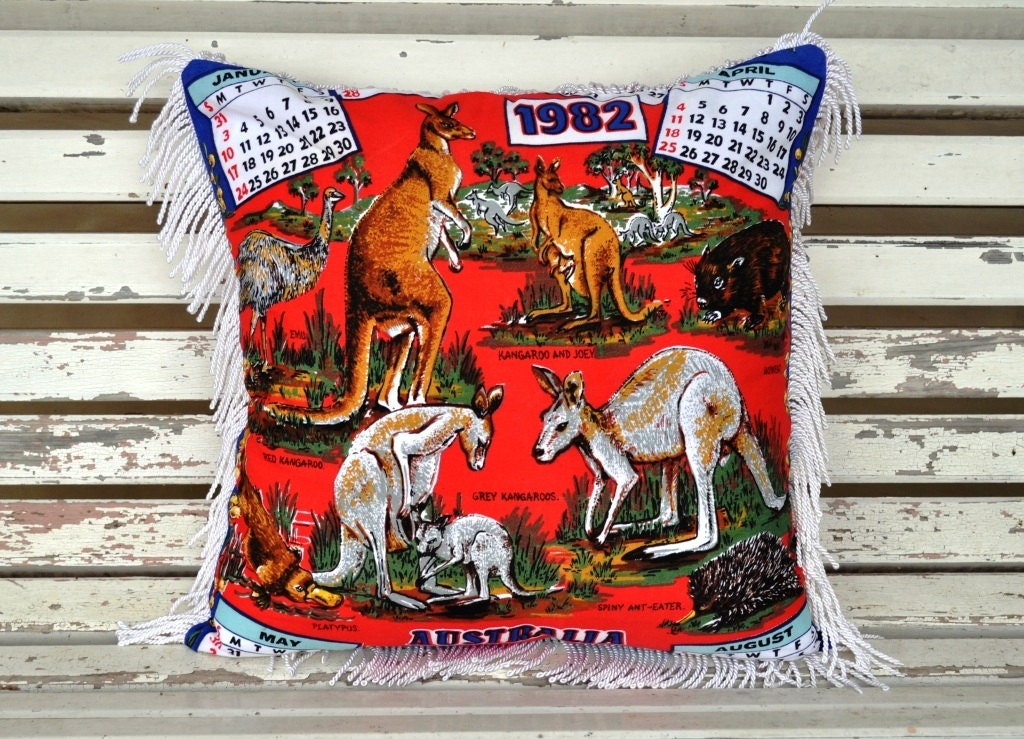 Throw Pillow 1982 calendar birthday  red Australia Tea Towel Repurposed Cotton Pillow Cushion OOAK  Eco Friendly