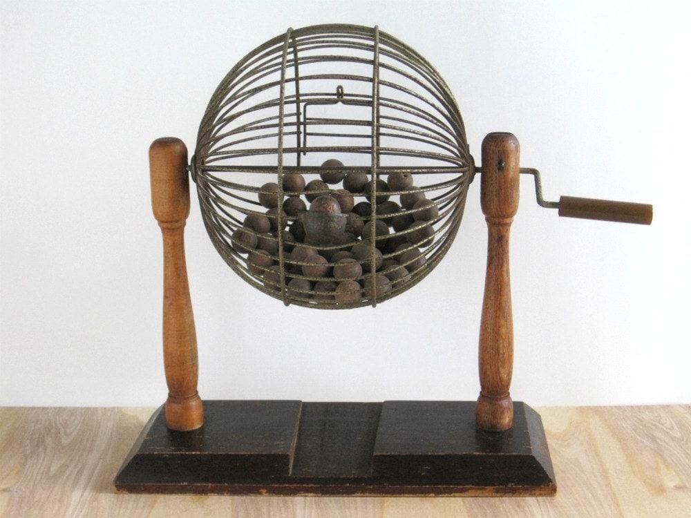 Vintage Bingo Cage w/ Wooden Balls - Rustic Cottage Decor - GoldenDaysAntiques