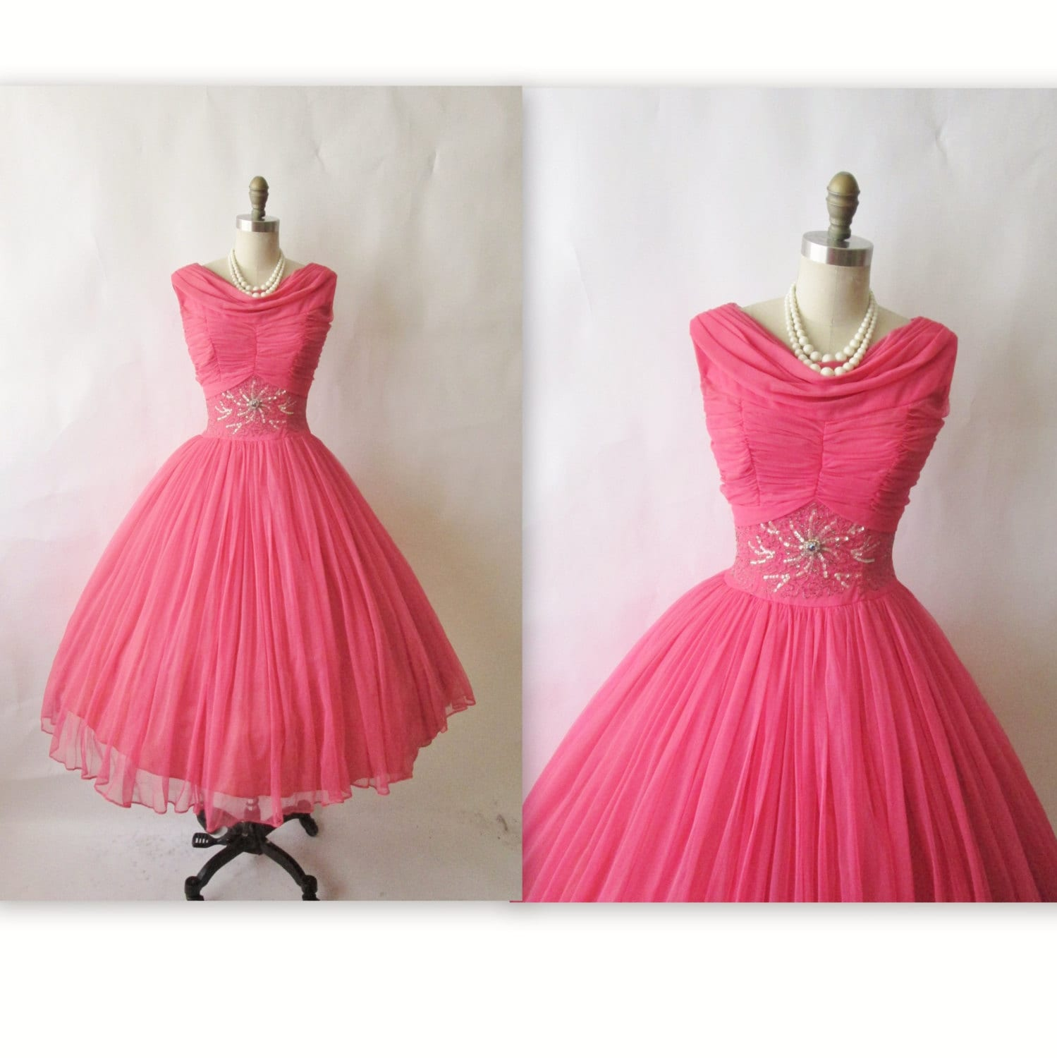 50s prom dress vintage 1950s beaded pink by