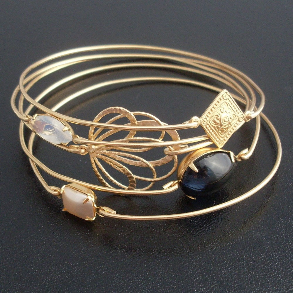 Twilight Bangle Bracelet Set - Gold, Gray, Cream