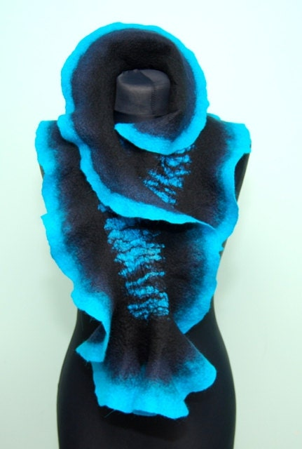 Navy blue black and turquoise scarf - joboba123