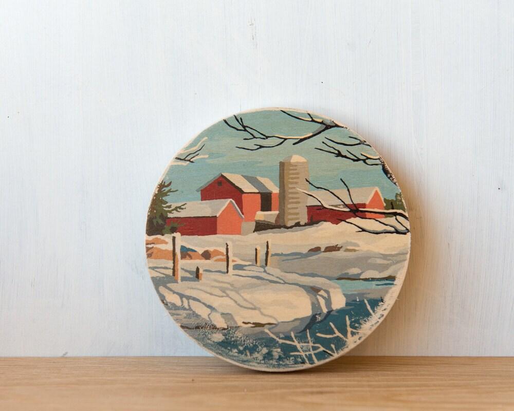 Paint by Number Circle Art Block 'Winter Farm' - autumn landscape, rural, vintage, trees