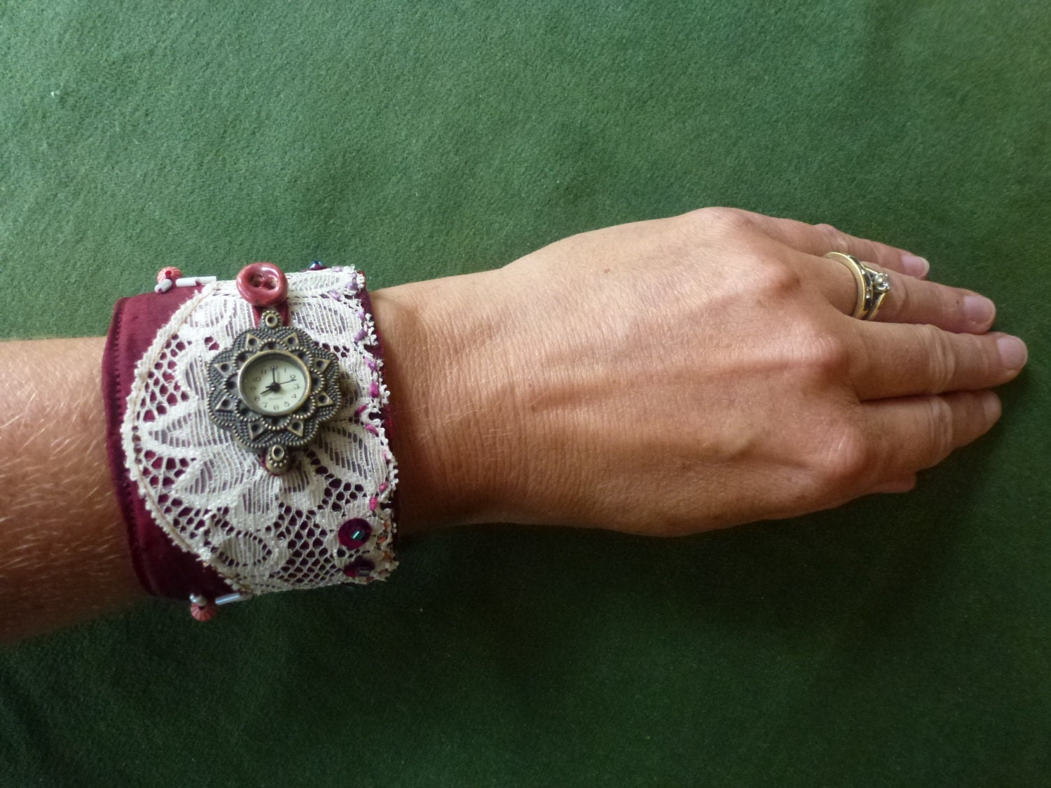 Leather wristwatch metal free strap for ladies lace and silk