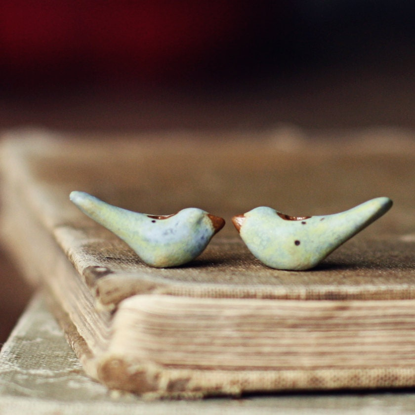 Tiny pastel birds- ceramic bird bead pair - kylieparry