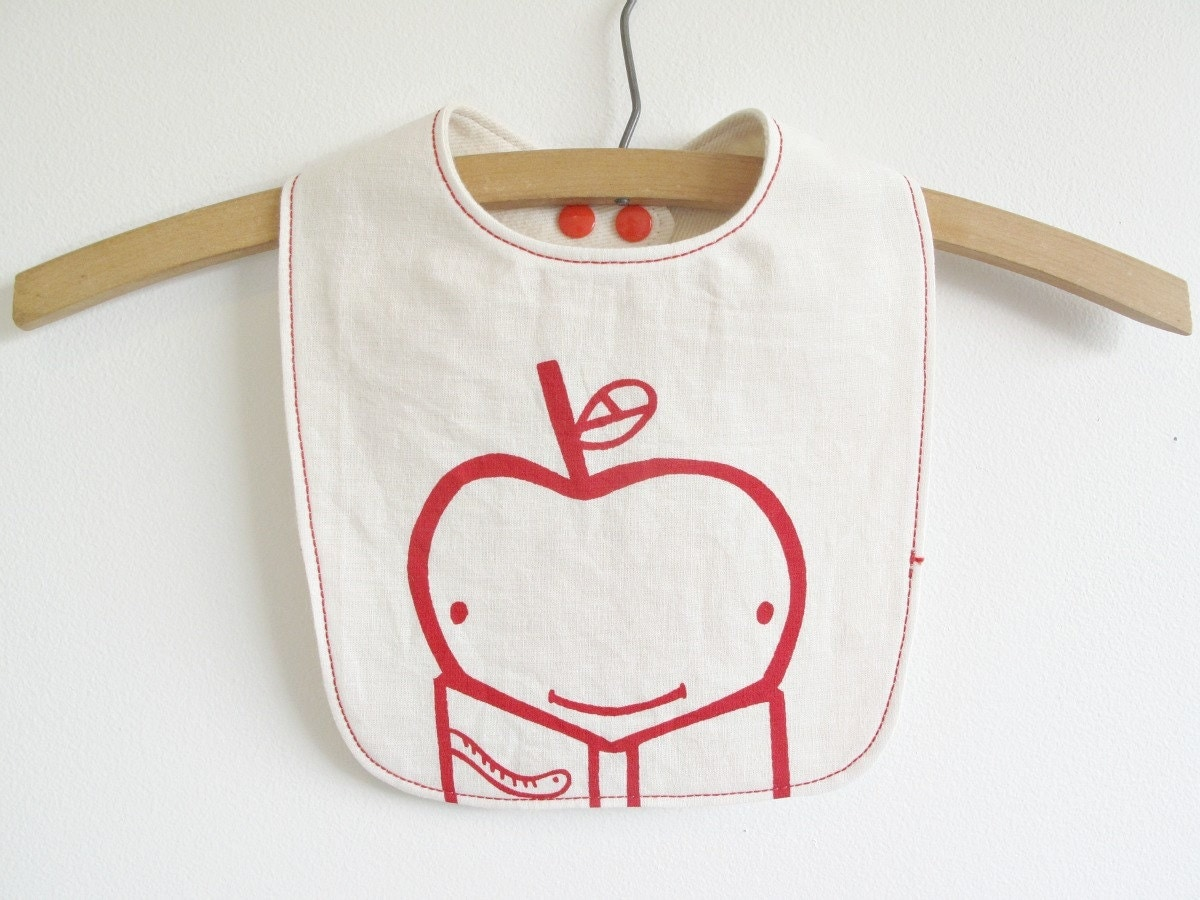 organic baby bib, baby bib, apple, book worm, bib - downhomeamy