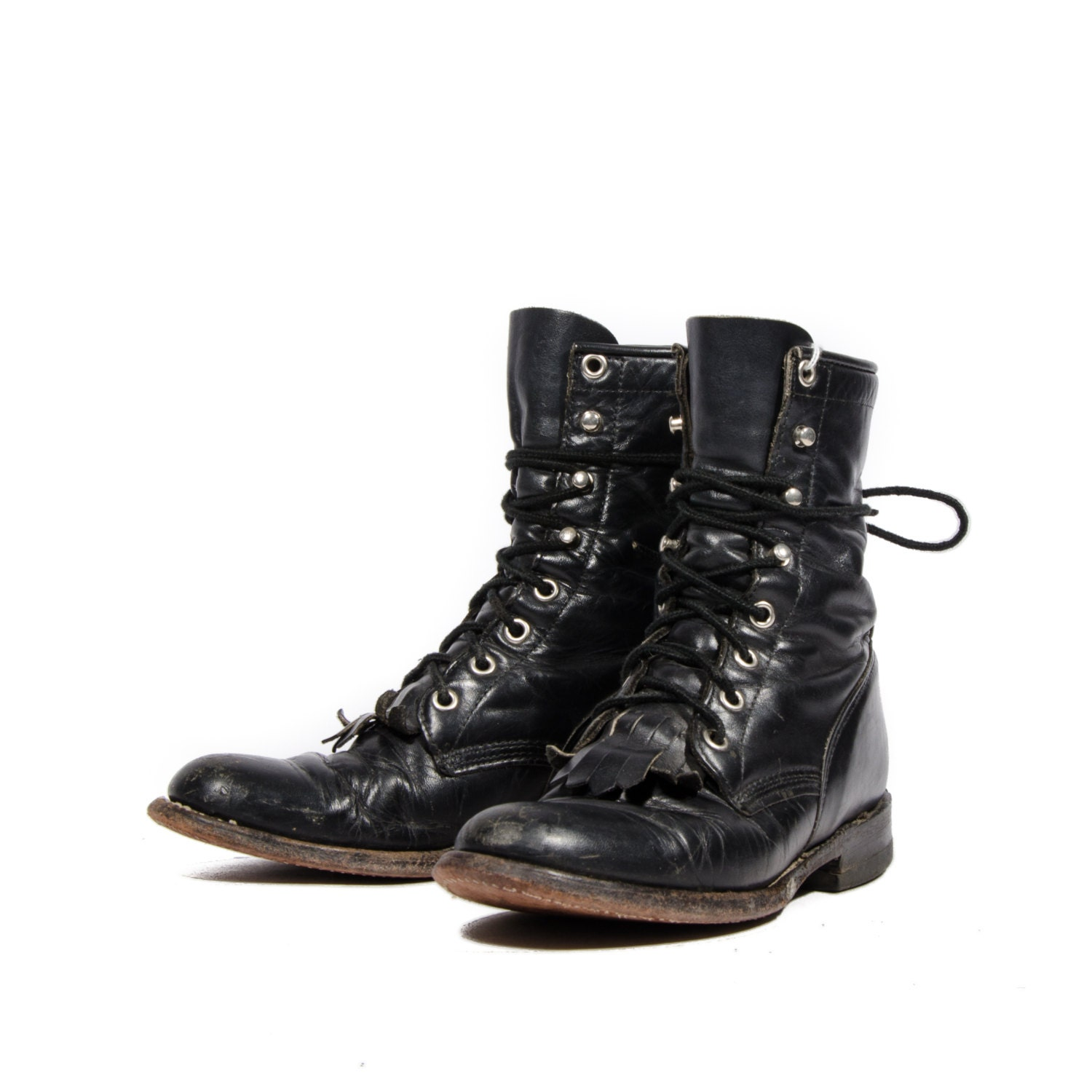 justin ropers lace up ankle boots by rabbithousevintage