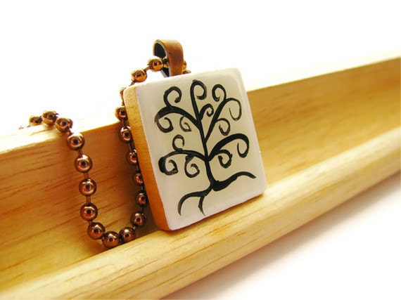 Tree of Life Scrabble Necklace Hand Painted Black and White Pendant - heversonart