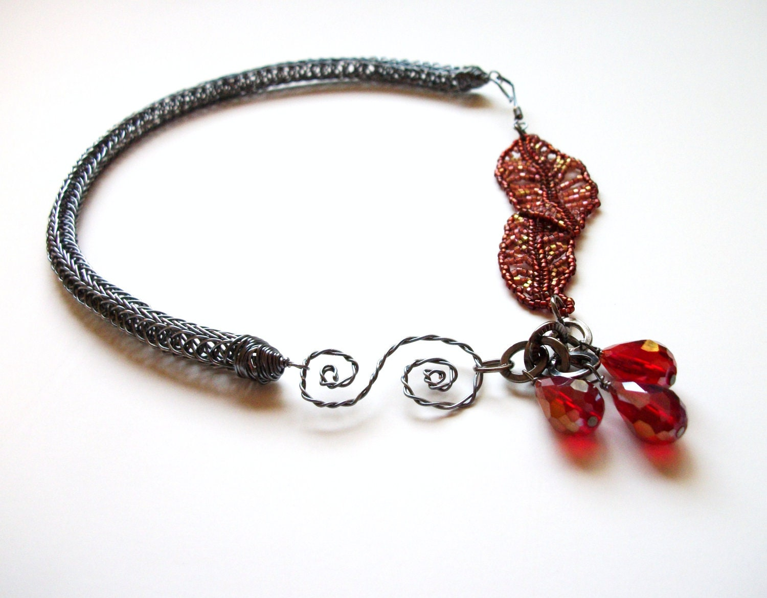 Viking Knit Necklace - Asymmetrical Beadwoven Autumn Leaves in Red and Gunmetal Grey - TerahClassyCreations