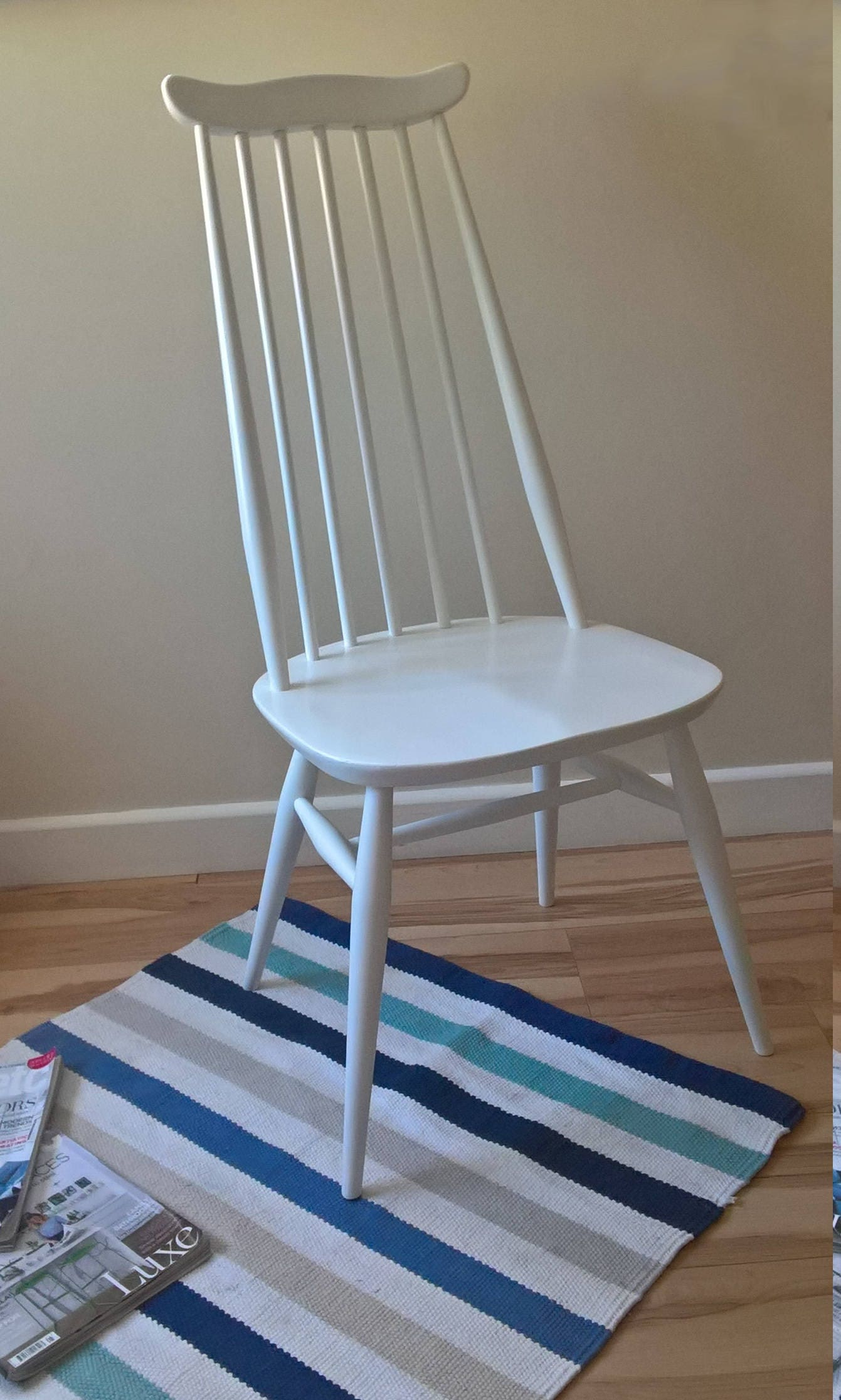 Ercol Goldsmith Contemporary Chair from 196077 Refurbished in Pure White Rust Oleum Spray