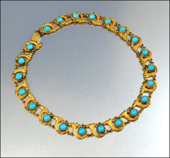 nouveau necklace turquoise gold collar by