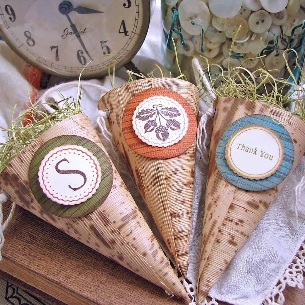 Rustic Autumn Wedding Cone Favors