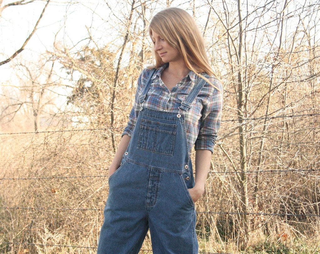 Vintage nature girl london jeans overalls s m by rubychicboutique