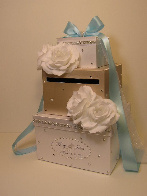 Champagne And White Wedding Card Box Gift Card By Bwithustudio