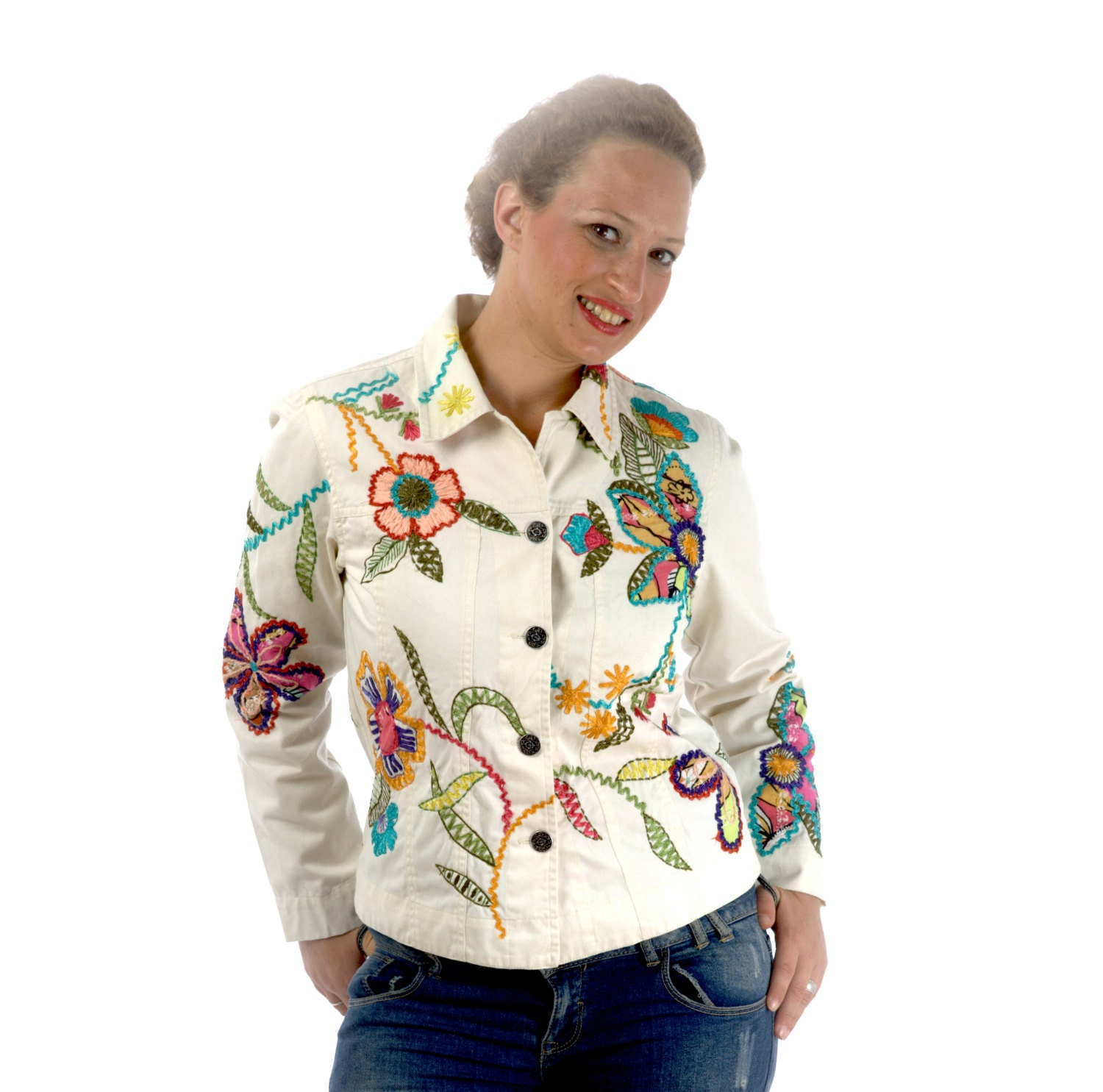 White jacket with embroidered and applications coldwater creek - LaBellaEpoque