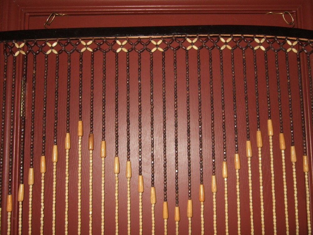 vintage wood bead curtain door curtain by vintagehillbillies