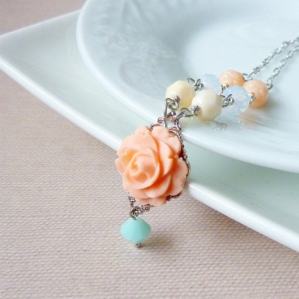 Pink Rose with Seafoam Green Crystal Necklace. Ivory Melon Beads, Peach Rosebud beads, White Faceted Crystal Beads - Katheyl