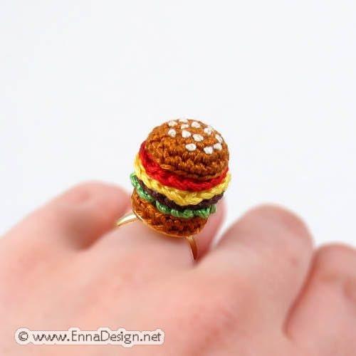 Crochet Amigurumi Ring : Crochet Amigurumi Miniature Hamburger Ring RG-8-2739 by ...
