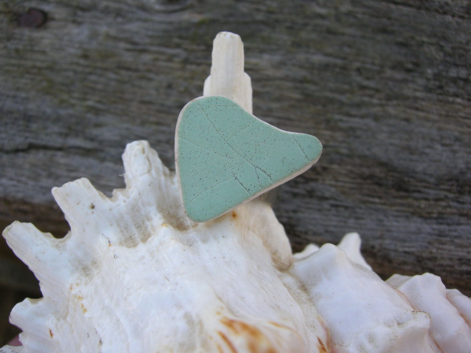 Upcycled beach pottery adjustable ring - AdriennesCreations4u