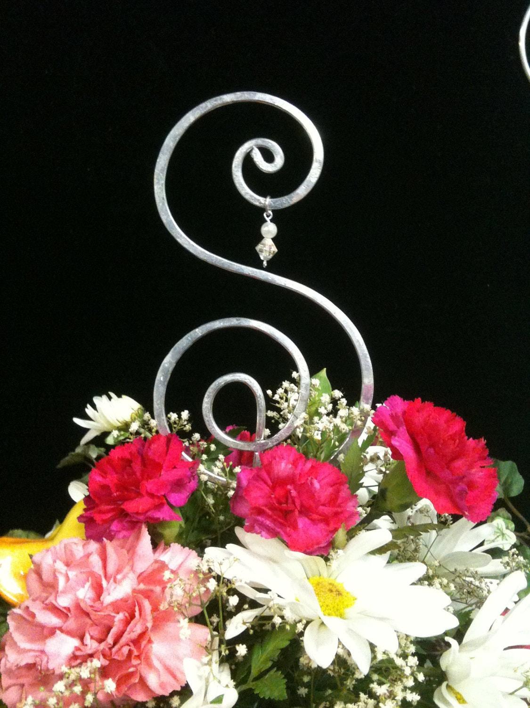 6 Inch Wire Art Wedding Cake Topper Letter ANY By AllegroArt