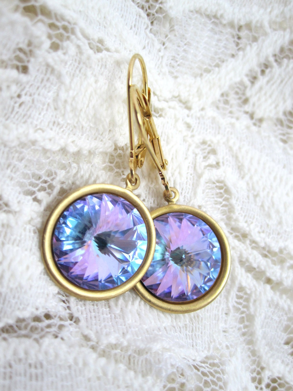 Swarovski vitrail earrings - light lavender vitral rivolis on gold leverbacks - LazyOwlBoutique