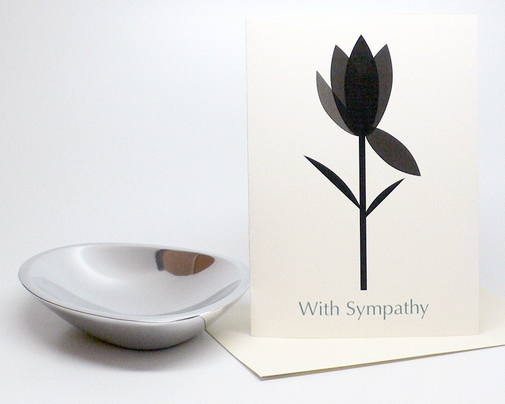 Mourning Tulip Minimalist Sympathy Card - Black Tulip on 100% Recycled Paper - manvsgeorge
