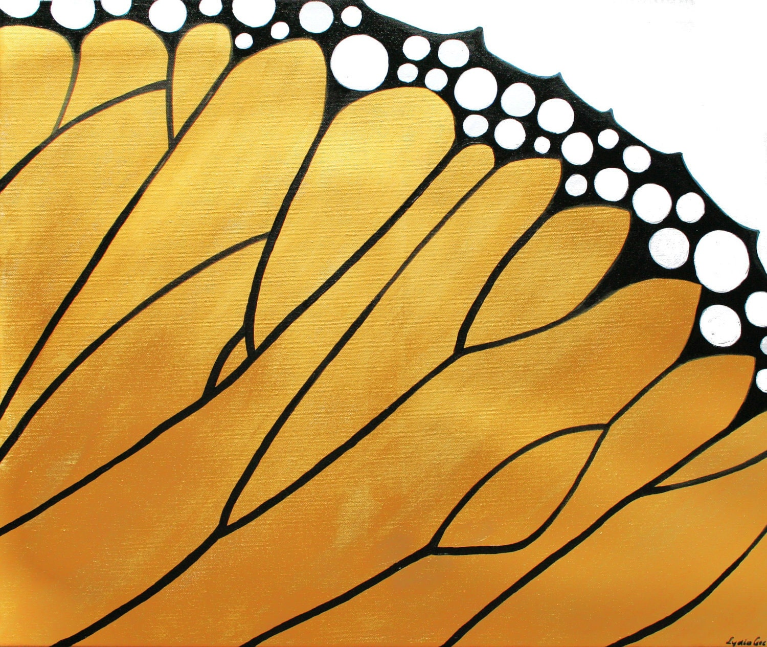 Monarch butterfly painting with Swarovski - Butterfly Effect - butterfly wing golden painting - butterfly art - yellow abstract by Lydia Gee - LydiaGee
