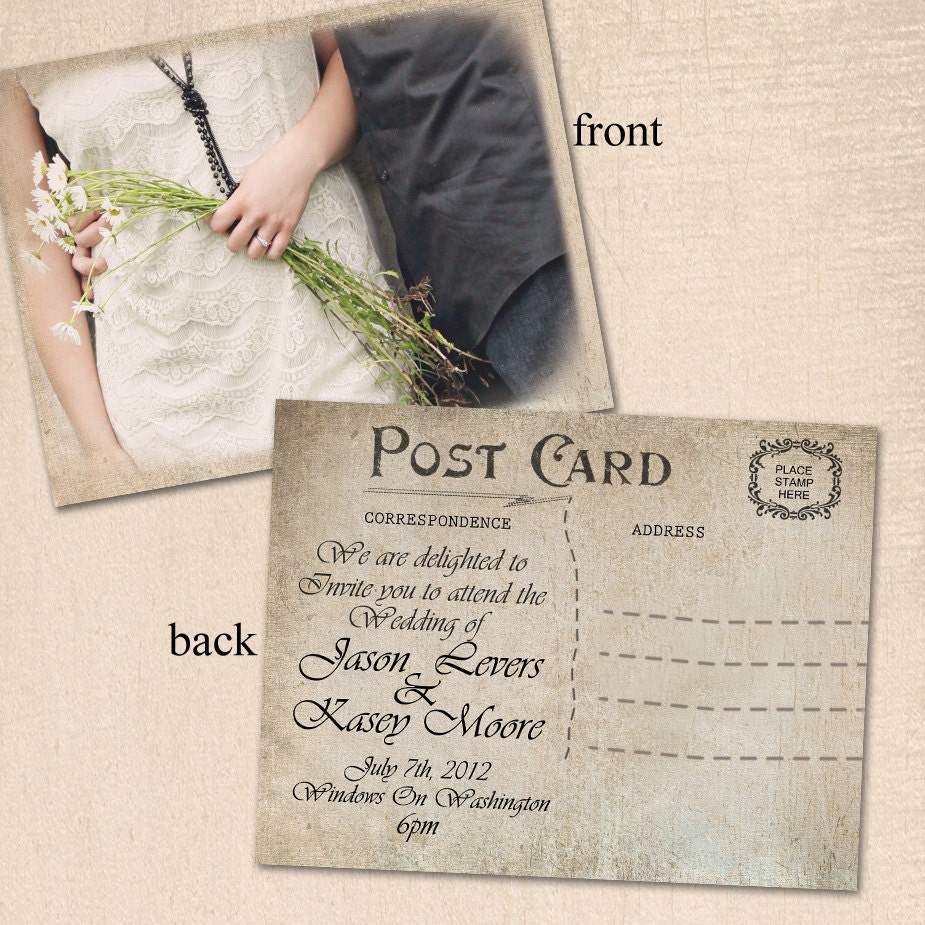 vintage wedding invitation post card by curlygurlycouture With wedding invitations picture postcard style