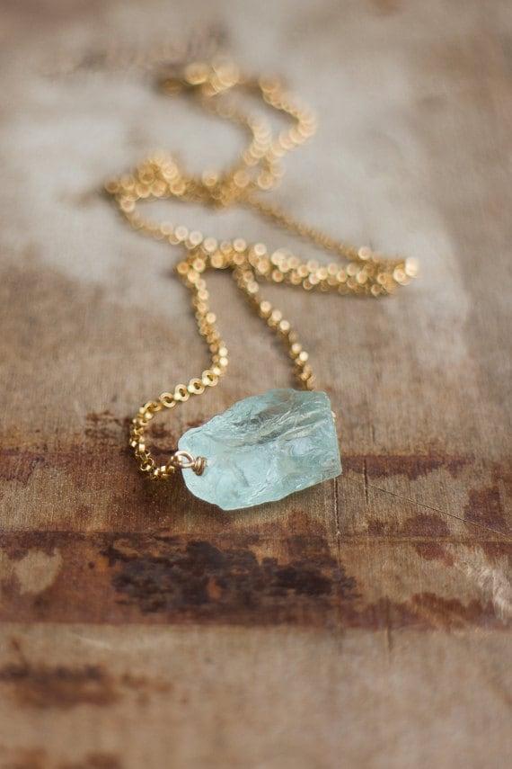 Raw Aquamarine Necklace March Birthstone Raw Crystal Necklace Rough Aquamarine Jewelry Aqua Blue Stone Necklace Rough Stone Necklace