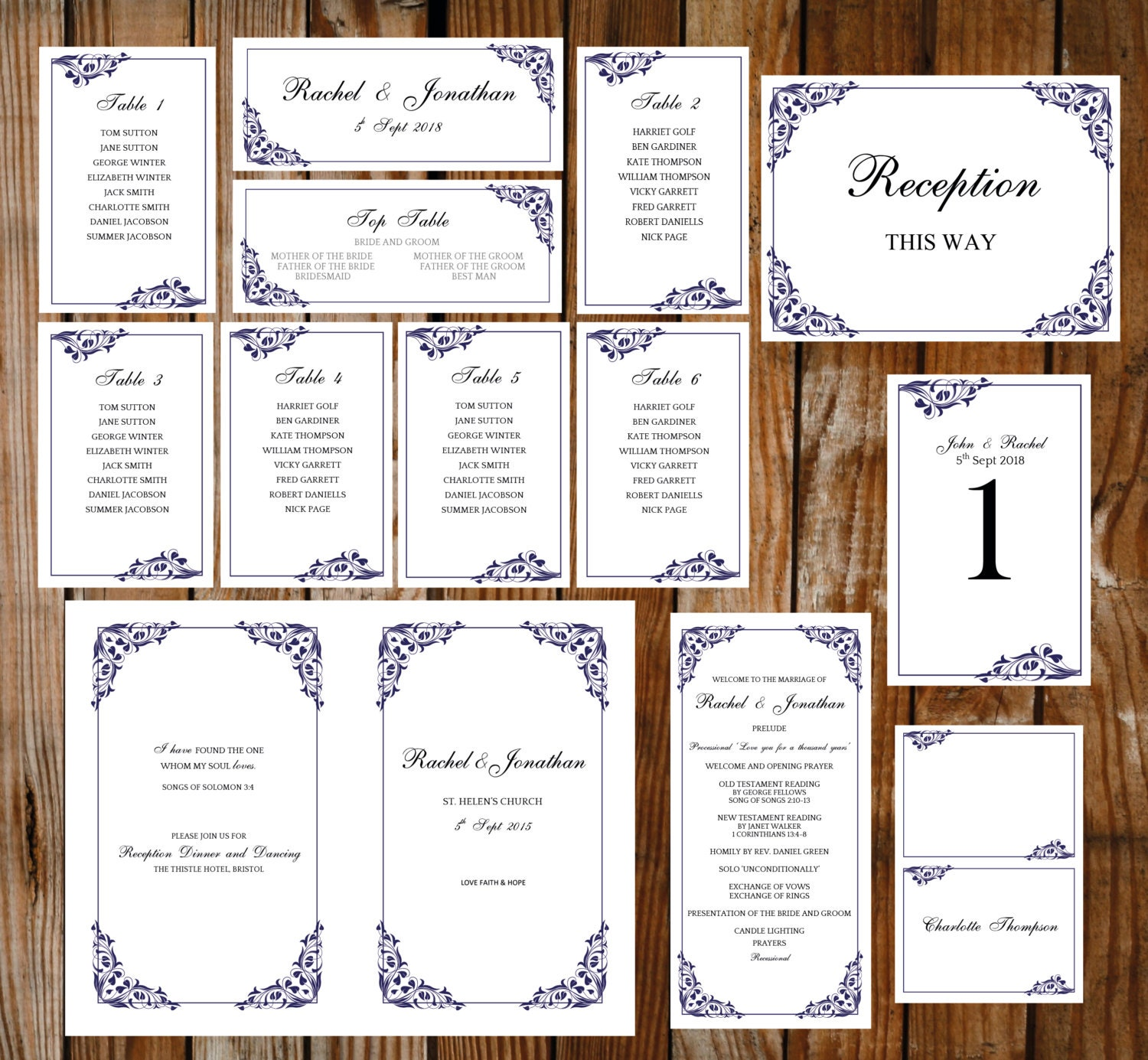 DIY template set  (Flora) blue DOWNLOAD PRINTABLE Microsoft word templates place cards program table plan table numbers and more