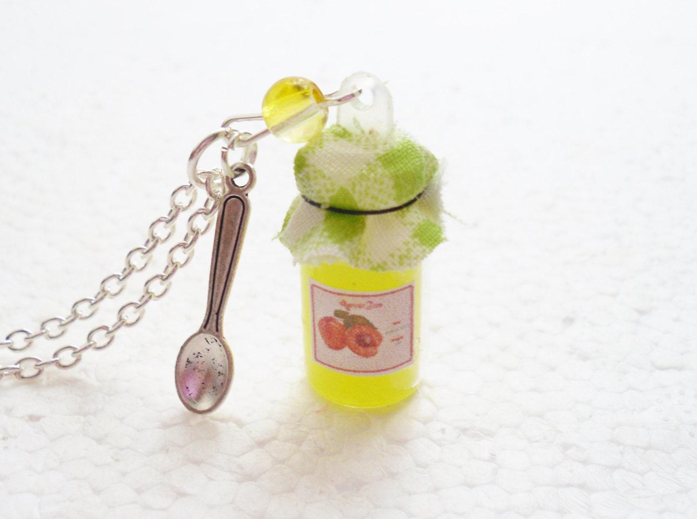 Jar of Apricot Jam Pendant. Polymer Clay