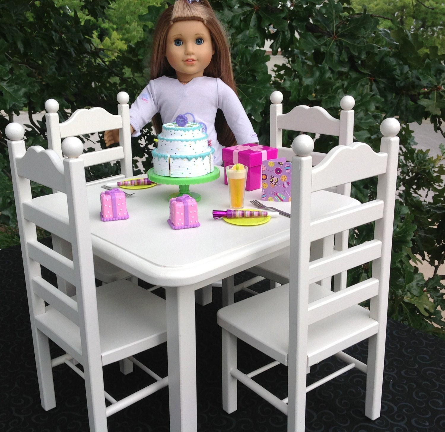 white square table 4 chair 18 in american girl by bedsandthreads. Black Bedroom Furniture Sets. Home Design Ideas