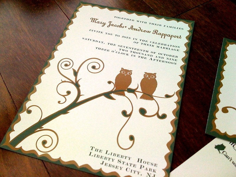 Fall Owl Wedding Invitation or Save the Date From shadowboxerink