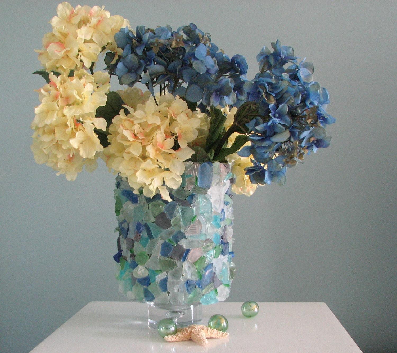 Пляж Декор моря стеклянную вазу или урагана - Пляж стеклянной вазе в акварели
