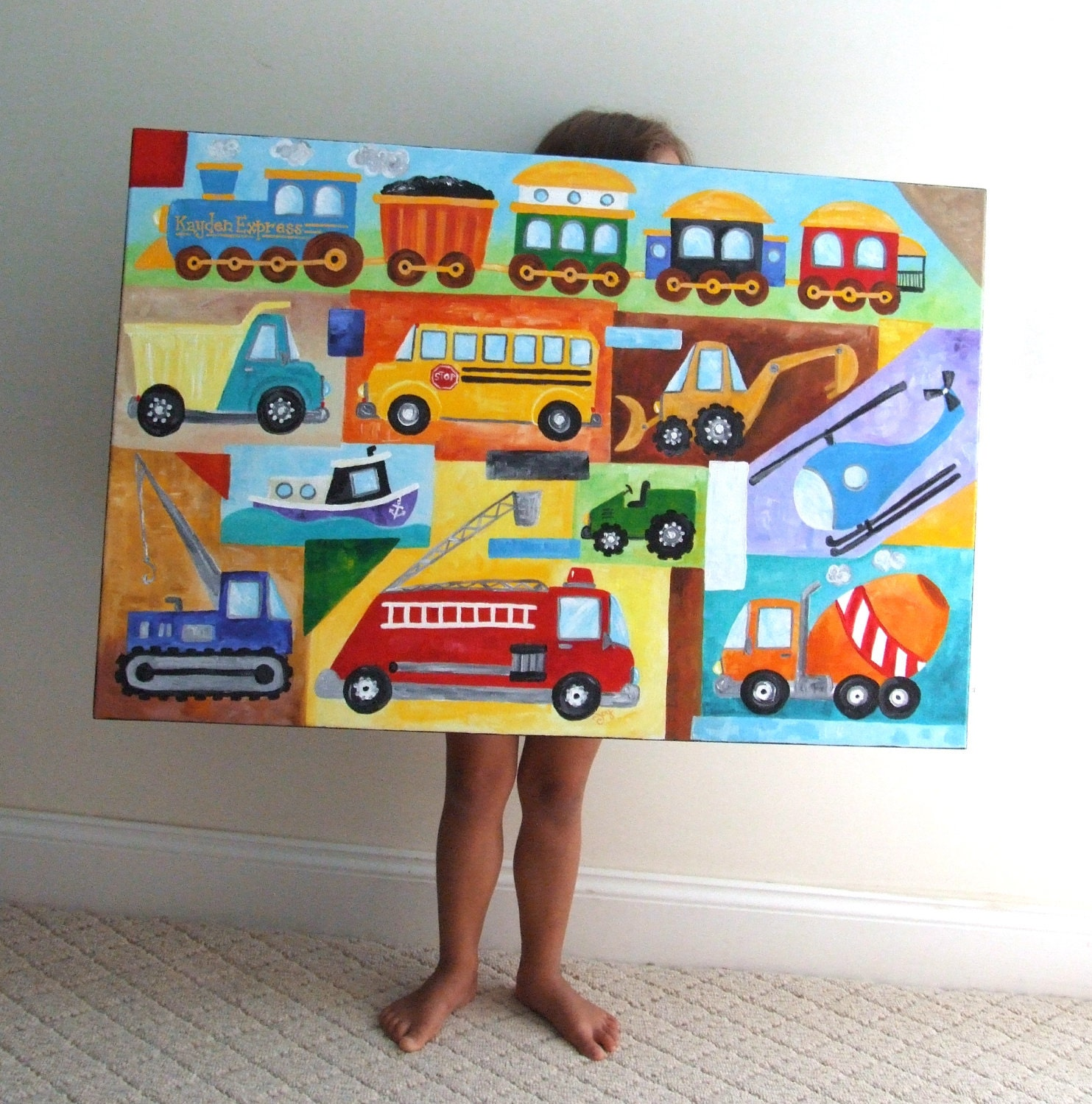 Nursery Wall Decor Transportation : Transportation nursery art custom truck and car by njoyart