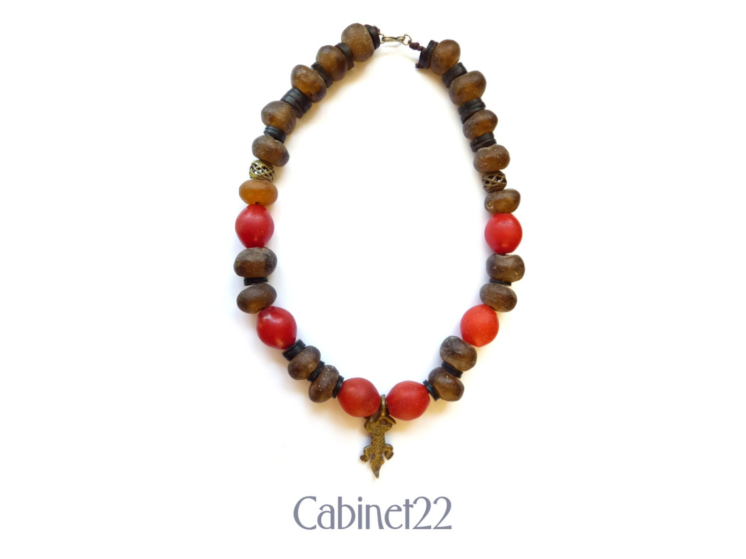 African Trade Bead necklace antique vintage statement necklace tribal necklace  Cabinet22