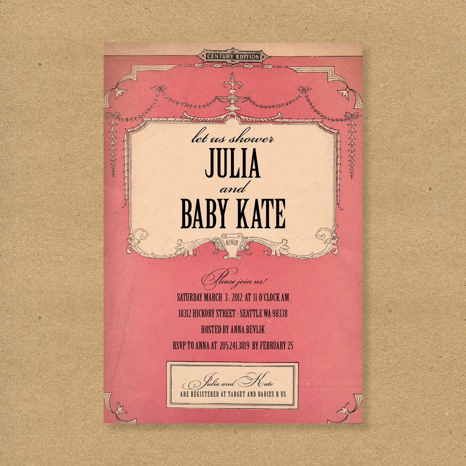 Vintage Book Cover Invitations ~ Items similar to baby shower invitation girly antique