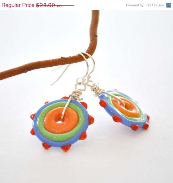 Colorful Lampwork Glass Disc Earrings