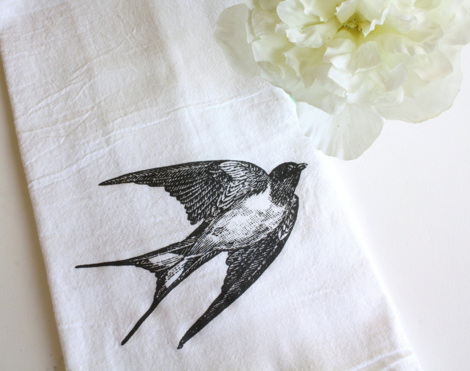 Mothers Day Gift, Flour Sack Towel, Cotton, Kitchen Towel,  Gift, Housewarming Gift, Swallow Bird, Home - AppleWhite
