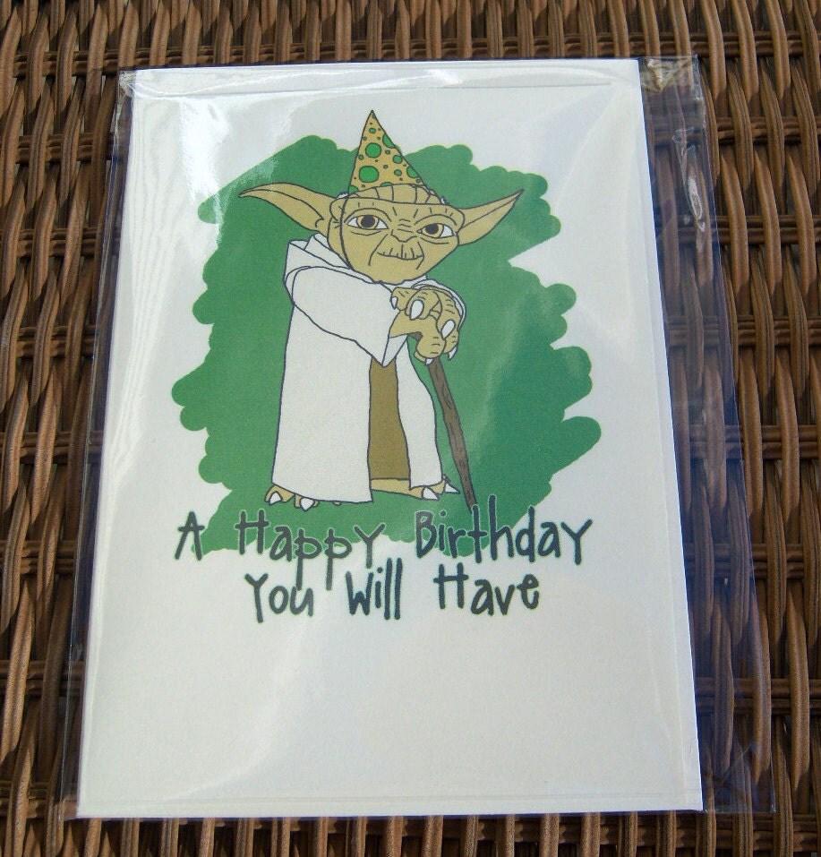 Star Wars Yoda Birthday Card By Sweetgeek On Etsy