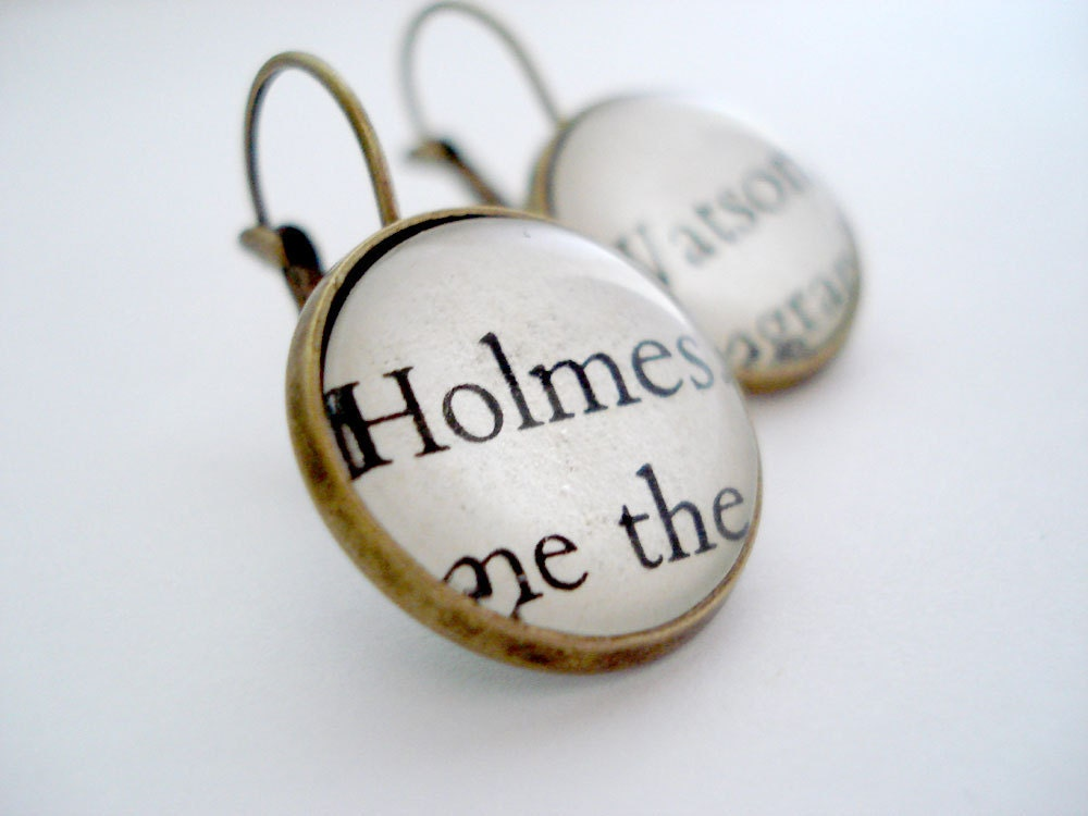 Sherlock Holmes earrings, drop earrings, book jewelry