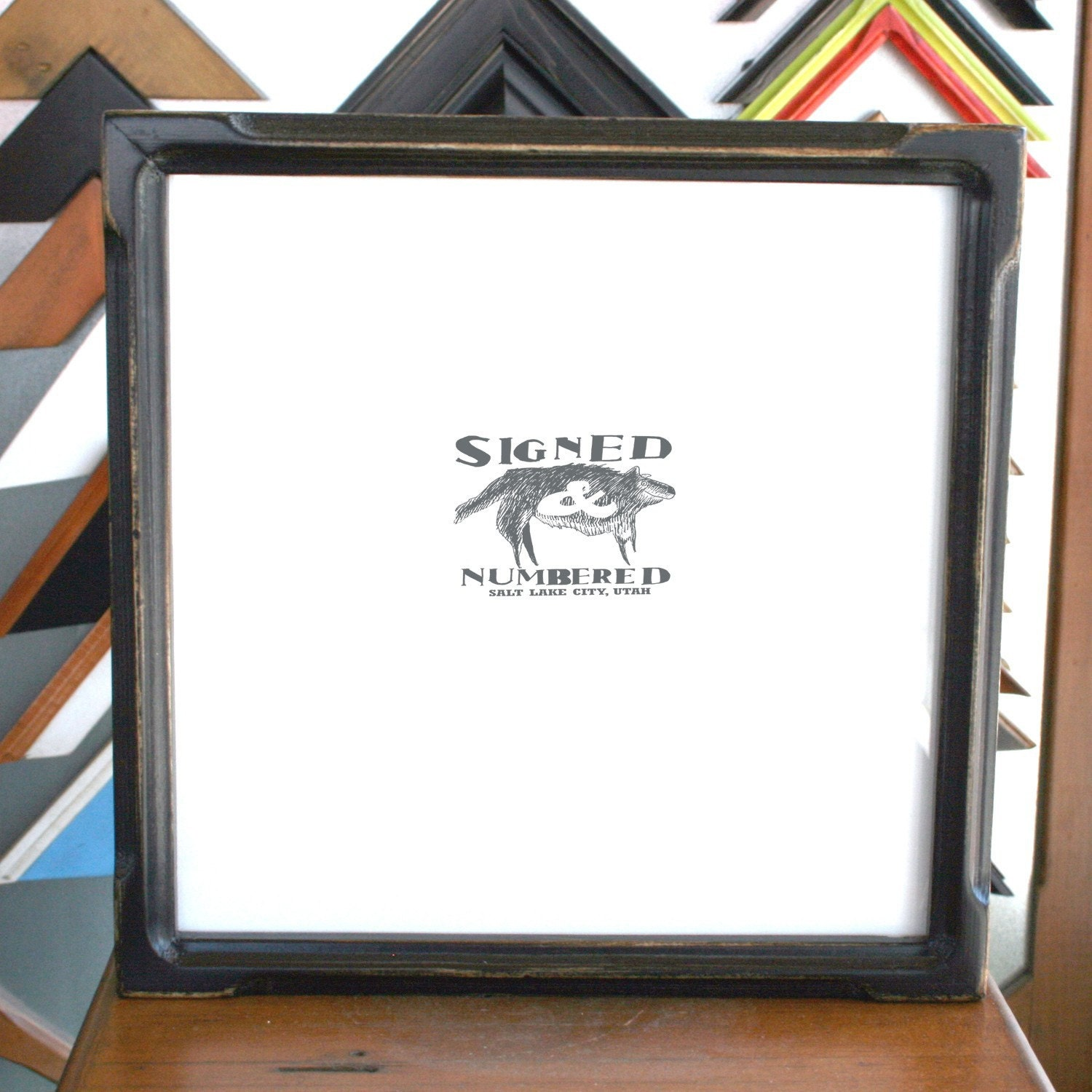 10x10 square picture frame with vintage black finish in deep bones style