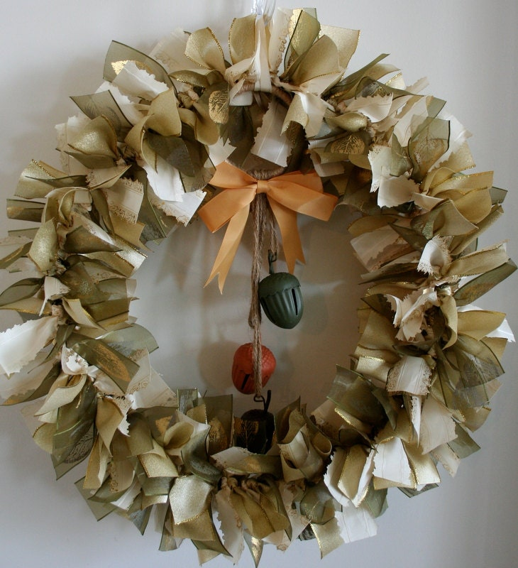 Thanksgiving Wreath, Fall Wreath, Acorn Wreath,  Happy Thanksgiving, Happy Fall, Wreath with Bells, Wreath with Leaves, Give Thanks
