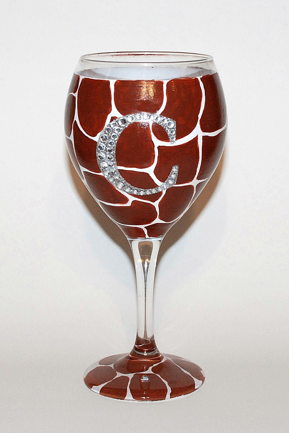 Hand painted giraffe wine glass with bling by for Painted wine glasses with initials