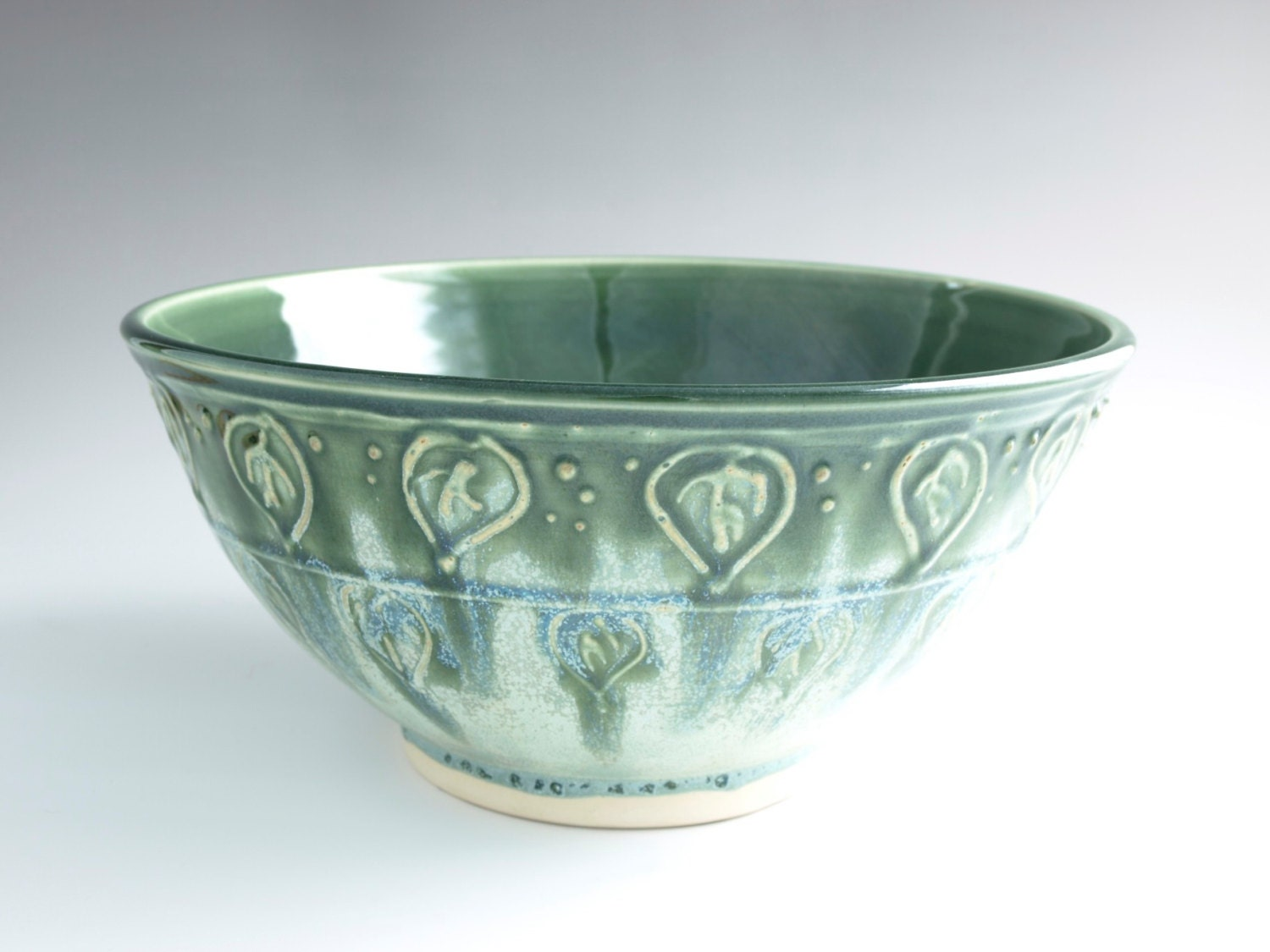 Extra Large Giant Size Serving Bowl Pottery Leaf Emerald Green Mint Chocolate Chip - Ready to Ship